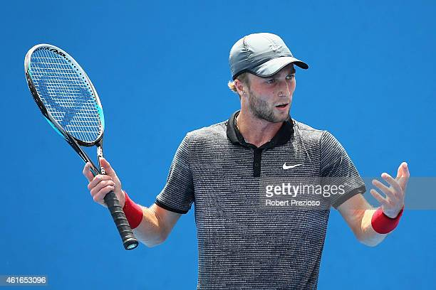 Liam Broady of Great Britain reacts in his qualifying match against Michael Russell of USA for 2015 Australian Open at Melbourne Park on January 17...