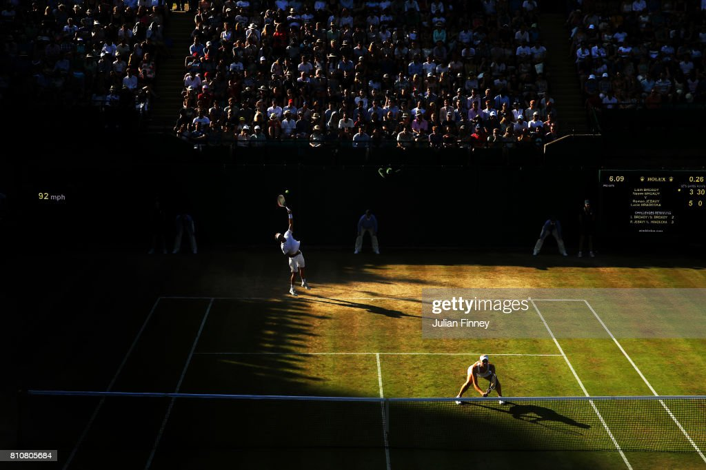 Liam Broady of Great Britain serves during the Mixed Doubles first round match with Naomi Broady of Great Britain against Roman Jebavy of the Czech Republic and Lucie Hradecka of the Czech Republic on day six of the Wimbledon Lawn Tennis Championships at the All England Lawn Tennis and Croquet Club on July 8, 2017 in London, England.