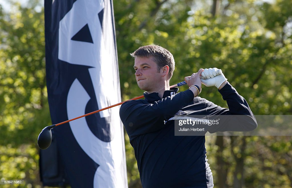 Liam Clarke of Cricket St Thomas Golf Club plays his first shot on the 1st tee during the PGA Professional Championship - West Qualifier at Burnham And Berrow Golf Club Club on May 5, 2016, in Burnham-On-Sea, England.