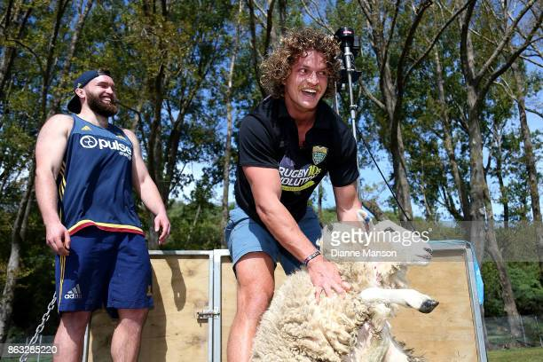 Liam Coltman of the Highlanders laughs as Nick Cummins attempts to shear a sheep in a sheep shearing contest on October 20 2017 in Dunedin New Zealand