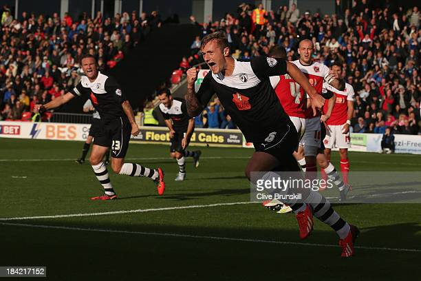 Liam Cooper of Chesterfield celebrates after scoring the first goal during the Sky Bet League Two match between Fleetwood Town and Chesterfield at...