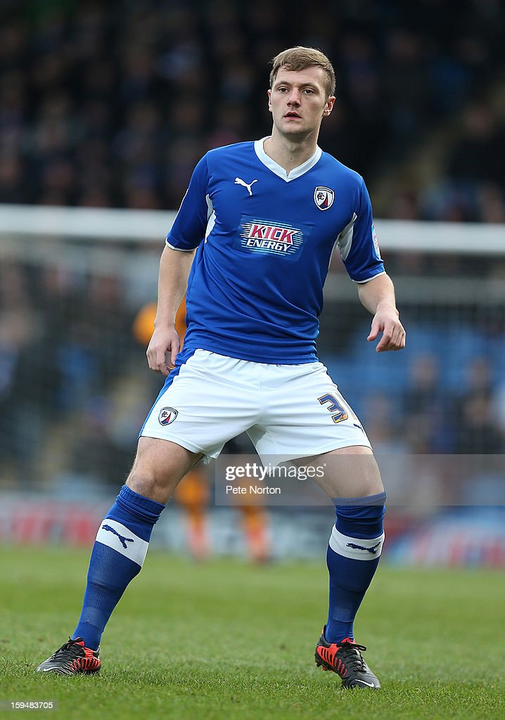 Liam Cooper of Chesterfield in action during the npower League Two match between Chesterfield and Northampton Town at the Proact Srtadium on January 12, 2013 in Chesterfield, England.