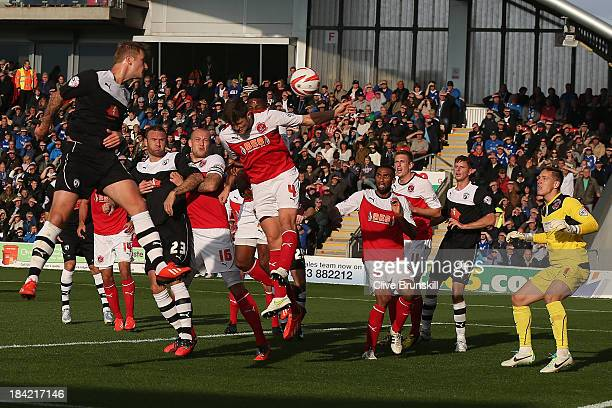 Liam Cooper of Chesterfield scores the first goal during the Sky Bet League Two match between Fleetwood Town and Chesterfield at Highbury Stadium on...
