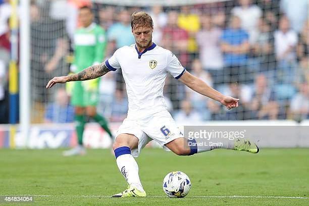 Liam Cooper of Leeds United FC passses the ball during the Sky Bet Championship match between Leeds United and Sheffield Wednesday at Elland Road on...