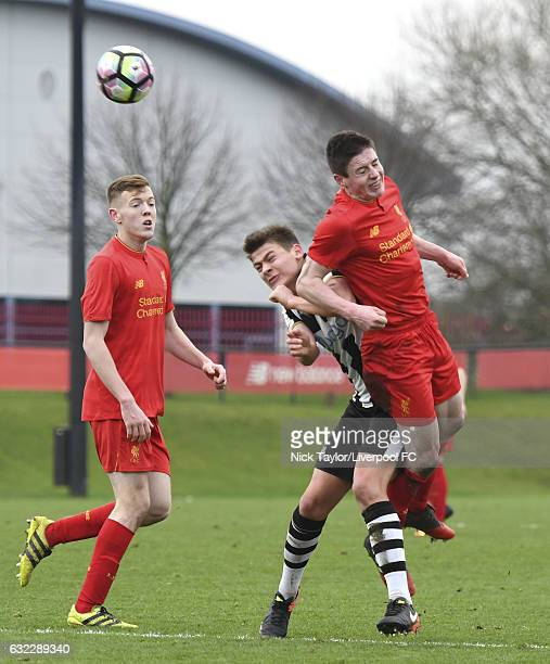 Liam Coyle of Liverpool and Lewis McNall of Newcastle United in action during the Liverpool v Newcastle United U18 Premier League game at The Academy...
