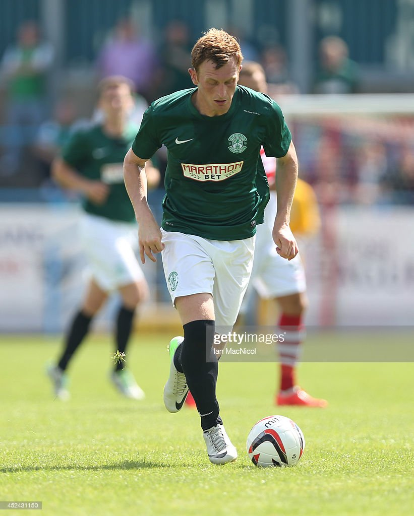 Liam Craig of Hibernian controls the ball during the Pre Season Friendly match between Stirling Albion and Hibernian at Forthbank Stadium on July 20, 2014 in Stirling, Scotland.
