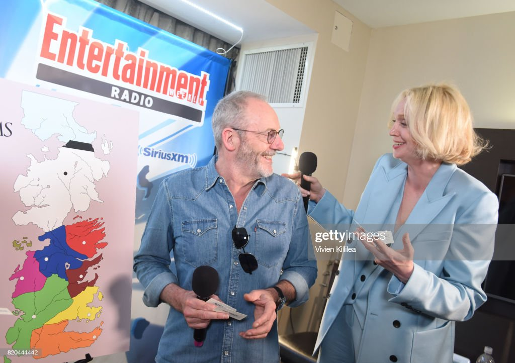 Liam Cunningham; and Gwendoline Christie attend SiriusXM's Entertainment Weekly Radio Channel Broadcasts From Comic Con 2017 at Hard Rock Hotel San Diego on July 21, 2017 in San Diego, California.