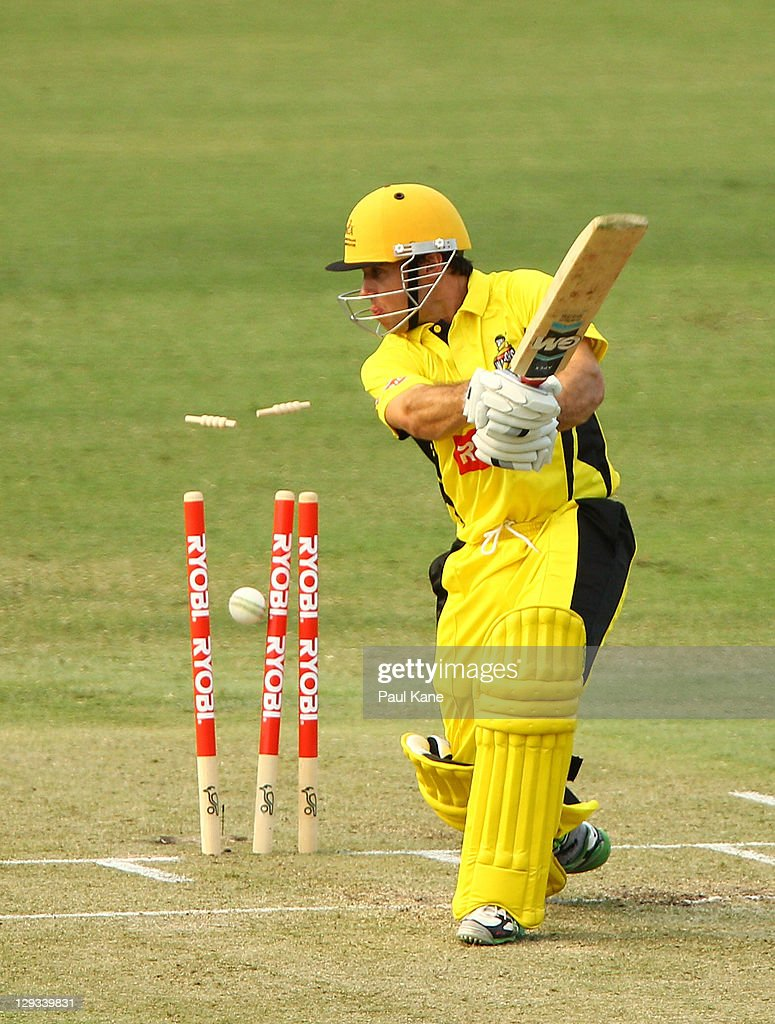 Liam Davis of the Warriors loses his wicket to James Faulkner of the Tigers during the Ryobi One-Day Cup match between the West Australian Warriors and the Tasmanian Tigers at the WACA on October 16, 2011 in Perth, Australia.