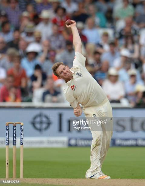 Liam Dawson of England bowls during the third day of the 2nd Investec Test match between England and South Africa at Trent Bridge cricket ground on...