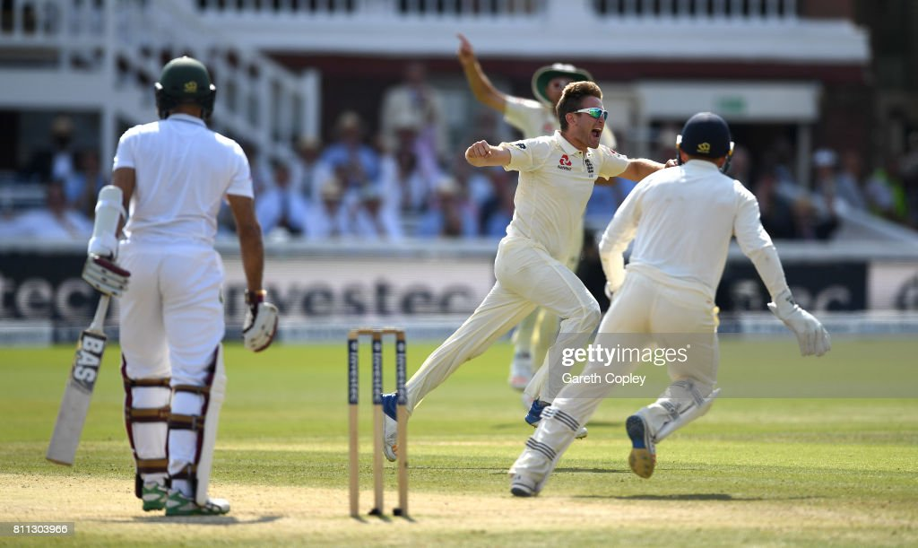 Liam Dawson of England celebrates dismissing Hashim Amla of South Africa during the 4th day of the 1st Investec Test between England and South Africa at Lord's Cricket Ground on July 9, 2017 in London, England.