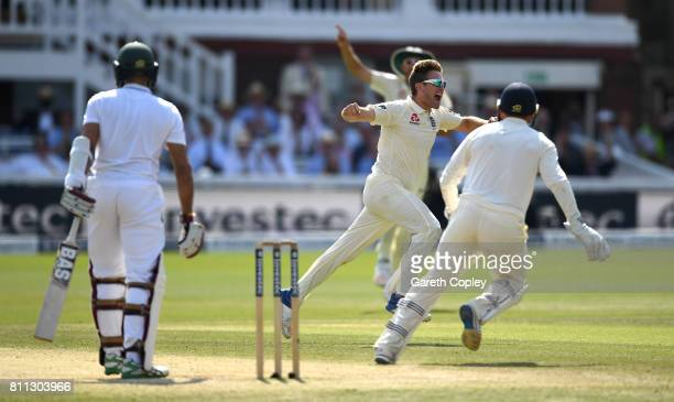 Liam Dawson of England celebrates dismissing Hashim Amla of South Africa during the 4th day of the 1st Investec Test between England and South Africa...