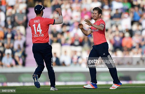 Liam Dawson of England celebrates with James Vince after dismissing Kusal Mendis of Sri Lanka during the Natwest International T20 match between...