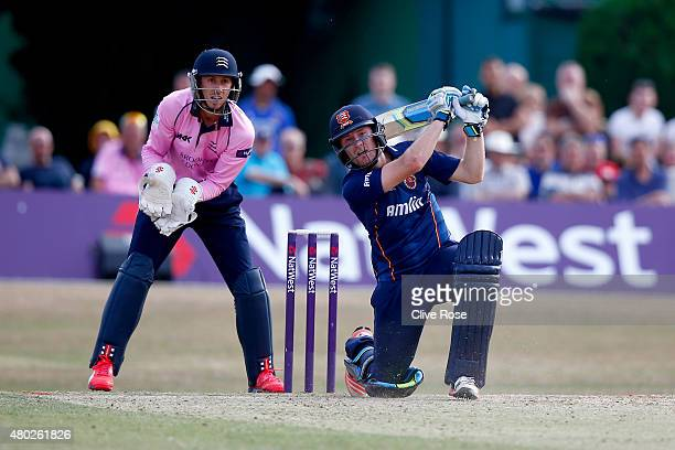 Liam Dawson of Essex hits out during the NatWest T20 Blast match between Middlesex and Essex at Old Deer Park on July 10 2015 in Richmond England