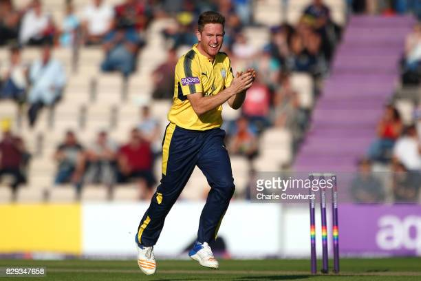Liam Dawson of Hampshire celebrates after taking the wicket of Colin Ingram of Glamorgan during the NatWest T20 Blast match between Hampshire and...