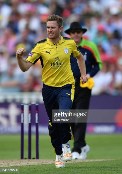 Liam Dawson of Hampshire celebrates taking the wicket of Steven Mullaney of Notts the NatWest T20 Blast SemiFinal match between Hampshire and Notts...