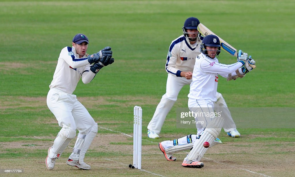 Liam Dawson of Hampshire cuts during the LV County Championship match between Hampshire and Yorkshire at Ageas Bowl on September 14 2015 in...