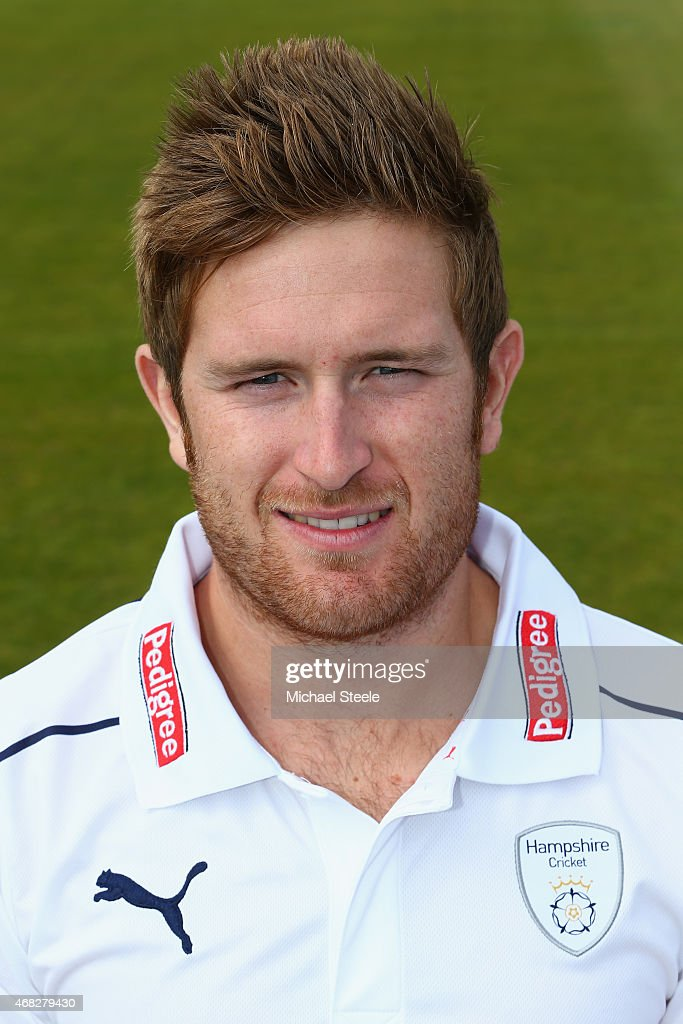 Liam Dawson of Hampshire during the Hampshire CCC Photocall at the Ageas Bowl on April 1 2015 in Southampton England
