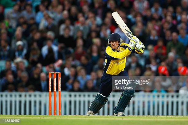 Liam Dawson of Hampshire hits out during the Friends Life T20 match between Surrey and Hampshire at The Kia Oval on July 8 2011 in London England