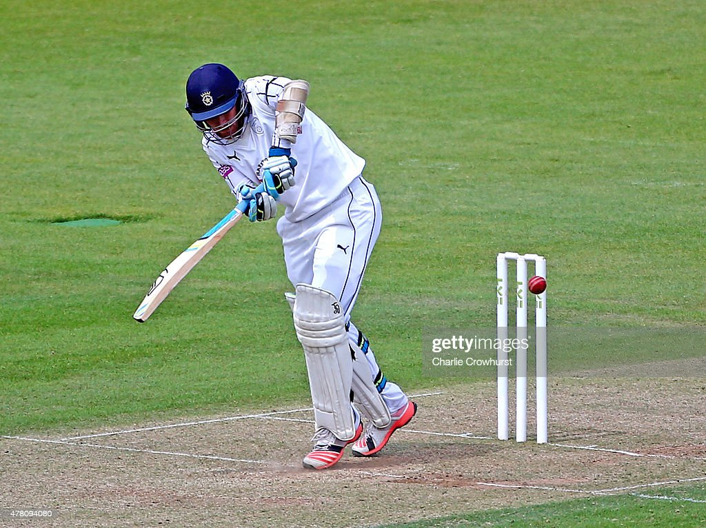 Liam Dawson of Hampshire hits out during the the LV County Championship match between Hampshire and Somerset at The Ageas Rose Bowl on June 22 2015...