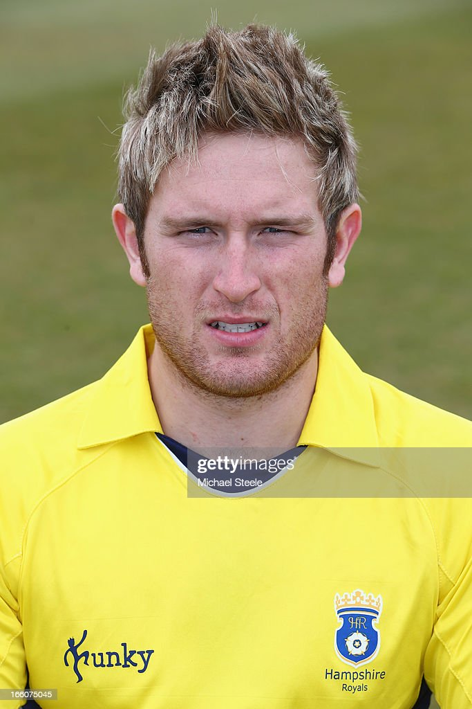 Liam Dawson of Hampshire wearing the Yorkshire Bank 40 Over kit during the Hampshire CCC photocall at The Ageus Bowl on April 8, 2013 in Southampton, England.
