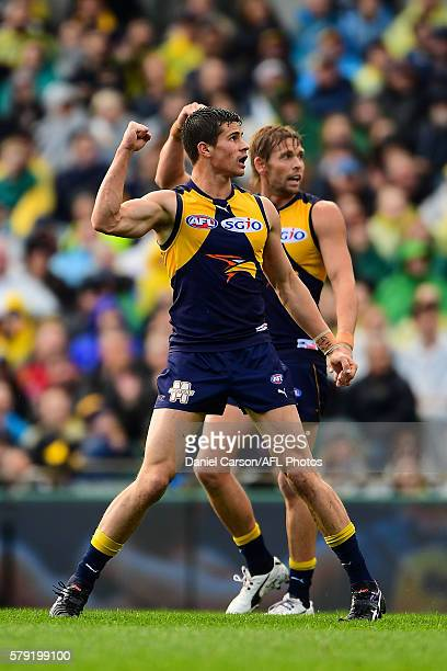 Liam Duggan and Mark LeCras of the Eagles celebrates a goal during the 2016 AFL Round 18 match between the West Coast Eagles and the Melbourne Demons...