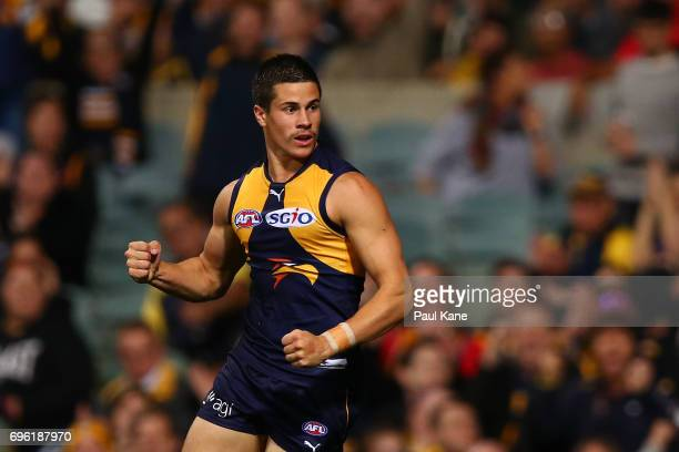 Liam Duggan of the Eagles celebrates a goal during the round 13 AFL match between the West Coast Eagles and the Geelong Cats at Domain Stadium on...