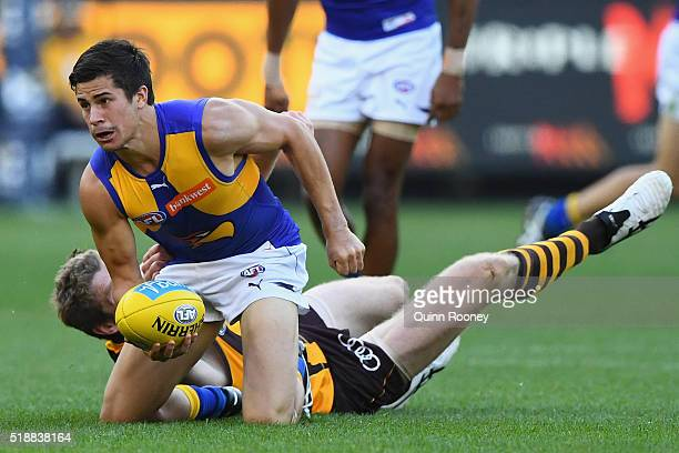 Liam Duggan of the Eagles is tackled by Ben McEvoy of the Hawks during the round two AFL match between the Hawthorn Hawks and the West Coast Eagles...