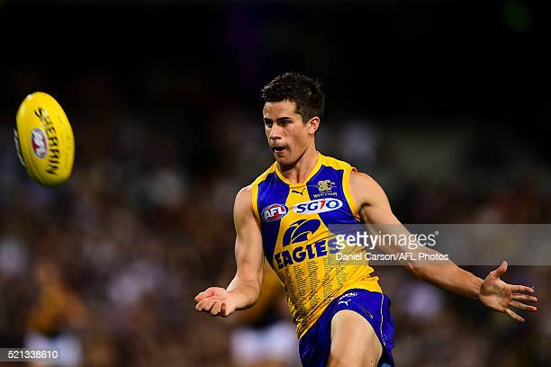 Liam Duggan of the Eagles kicks during the 2016 AFL Round 04 match between the West Coast Eagles and the Richmond Tigers at Domain Stadium Perth on...