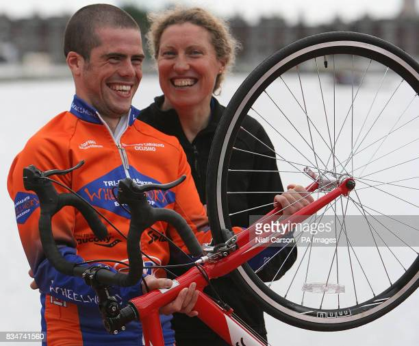 Liam Dunne and Irene Walsh winners of the male and female Focus Ireland Triathlon which took place today in Dublin at the Grand Canal Docks