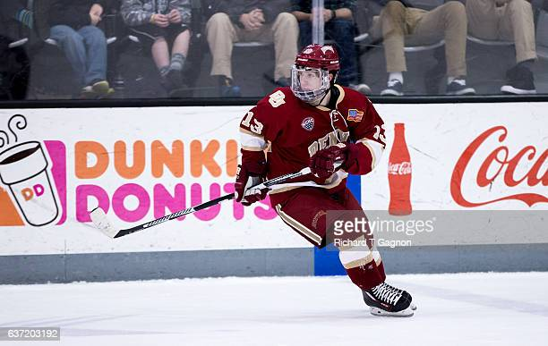 Liam Finlay of the Denver Pioneers skates against the Providence College Friars during NCAA hockey at the Schneider Arena on December 30 2016 in...