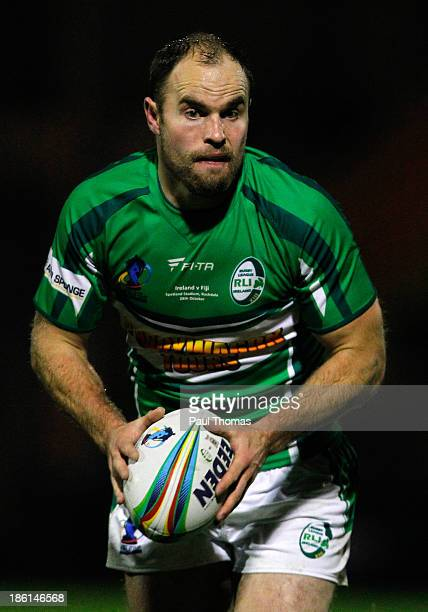 Liam Finn of Ireland in action during the Rugby League World Cup Group A match between Fiji and Ireland at Spotland Stadium on October 28 2013 in...