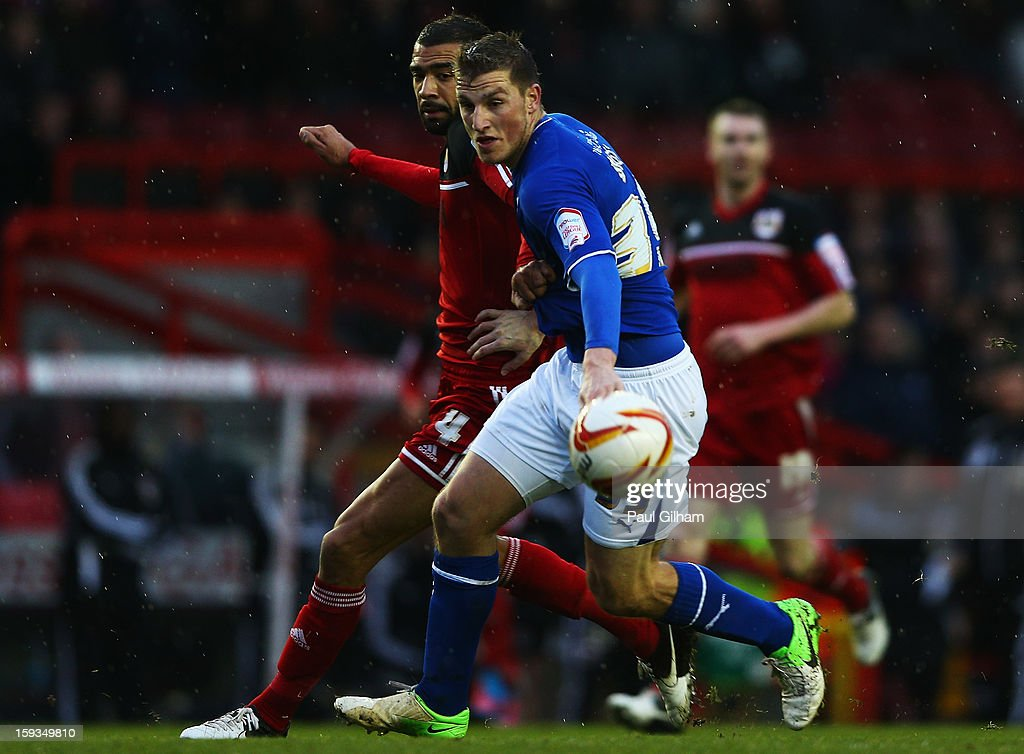 Liam Fontaine of Bristol City battles for the ball with Chris Wood of Leicester City during the npower Championship match between Bristol City and Leicester City at Ashton Gate on January 12, 2013 in Bristol, England.