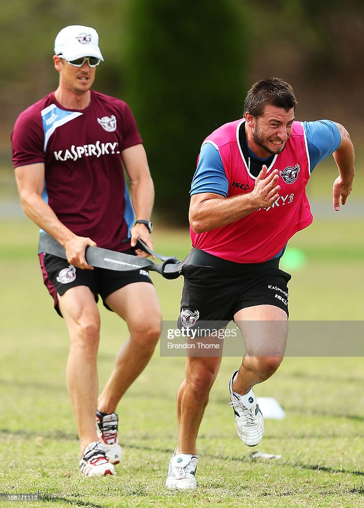 Liam Foran of the Sea Eagles runs during a Manly Sea Eagles NRL pre-season training session at Sydney Academy of Sport on November 21, 2012 in Sydney, Australia.