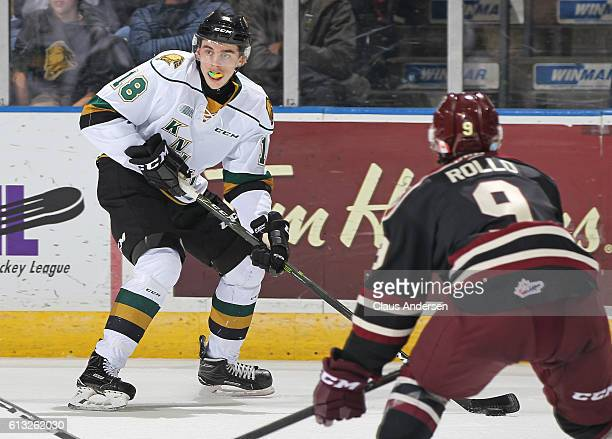 Liam Foudy of the London Knights controls the puck against the Peterborough Petes during an OHL game at Budweiser Gardens on October 7 2016 in London...