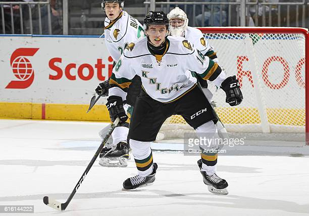 Liam Foudy of the London Knights defends on a penalty kill against the Saginaw Spirit during an OHL game at Budweiser Gardens on October 21 2016 in...