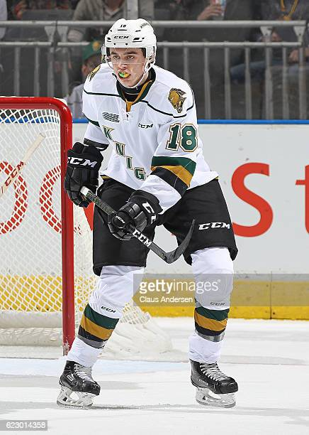 Liam Foudy of the London Knights skates against the Guelph Storm during an OHL game at Budweiser Gardens on November 12 2016 in London Ontario Canada...