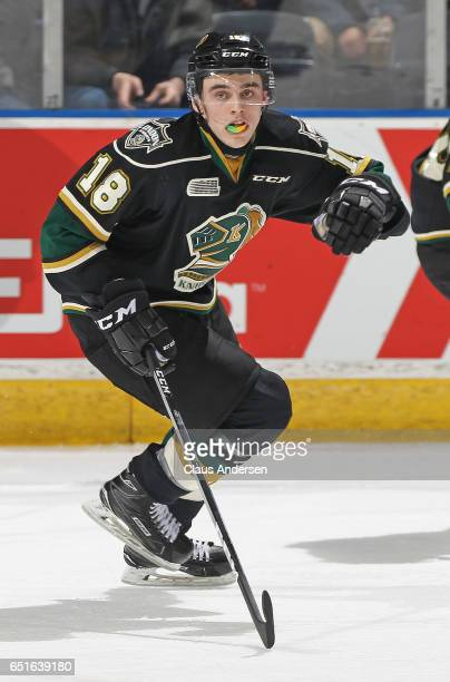 Liam Foudy of the London Knights skates against the Guelph Storm during an OHL game at Budweiser Gardens on March 9 2017 in London Ontario Canada The...