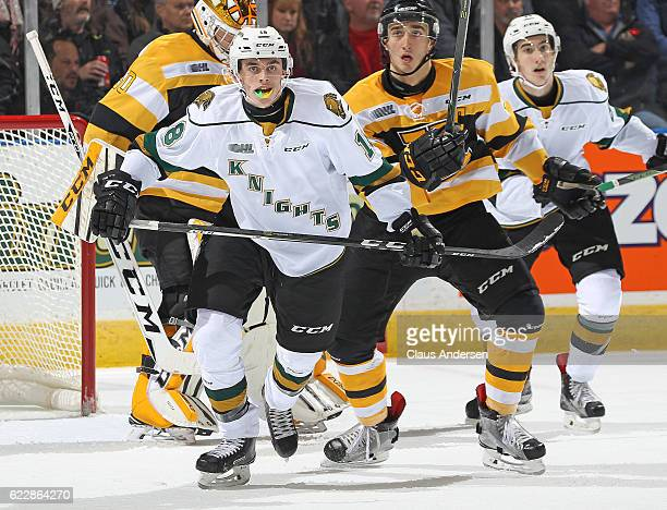 Liam Foudy of the London Knights skates against the Kingston Frontenacs during an OHL game at Budweiser Gardens on November 11 2016 in London Ontario...