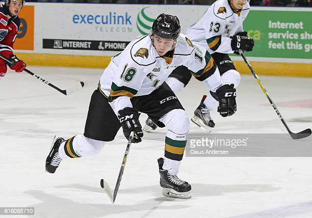 Liam Foudy of the London Knights skates against the Kitchener Rangers during an OHL game at Budweiser Gardens on October 20 2016 in London Ontario...