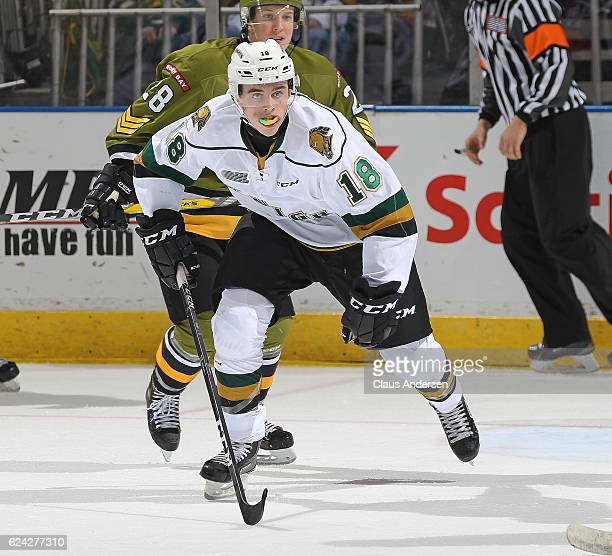 Liam Foudy of the London Knights skates against the North Bay Battalion during an OHL game at the Budweiser Gardens on November 18 2016 in London...