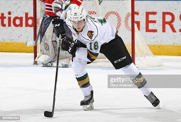 Liam Foudy of the London Knights skates against the Oshawa Generals during an OHL game at Budweiser Gardens on December 28 2016 in London Ontario...