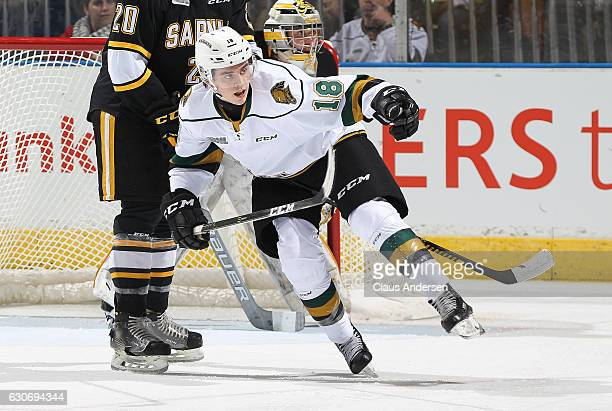 Liam Foudy of the London Knights skates against the Sarnia Sting during an OHL game at Budweiser Gardens on December 30 2016 in London Ontario Canada