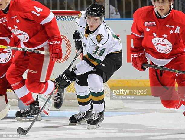 Liam Foudy of the London Knights skates against the Sault Ste Marie Greyhounds during an OHL game on Sept 30 2016 at Budweiser Gardens in London...
