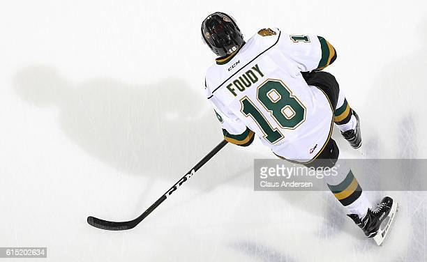 Liam Foudy of the London Knights skates during the warmup prior to playing against the Erie Otters in an OHL game on September 23 2016 at Budweiser...