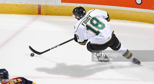 Liam Foudy of the London Knights skates with the puck against the Erie Otters during an OHL game on September 23 2016 at Budweiser Gardens in London...