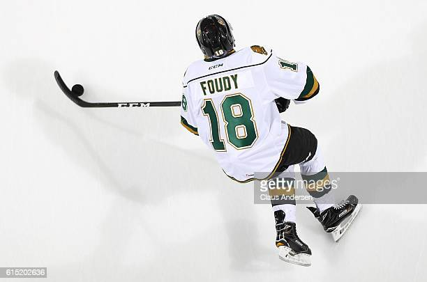 Liam Foudy of the London Knights skates with the puck during the warmup prior to playing against the Erie Otters in an OHL game on September 23 2016...
