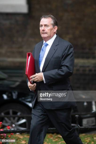 Liam Fox UK international trade secretary arrives for a weekly meeting of cabinet ministers at number 10 Downing Street in London UK on Tuesday Sept...