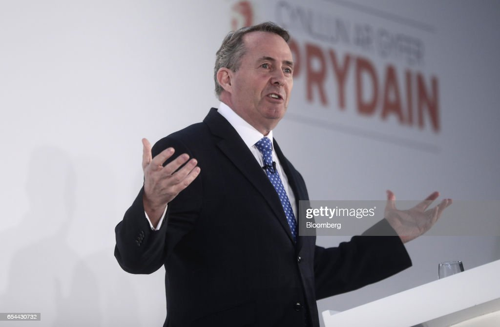 Liam Fox, U.K. international trade secretary, gestures as he speaks at the Conservative Party's annual Spring Forum in Cardiff, U.K., on Friday, March 17, 2017. Prime Minister Theresa May will pledge to forge a closer union within the U.K. in a rebuke to Scottish National Party leader Nicola Sturgeon, who started the week calling for a new independence referendum for Scotland. Photographer: Simon Dawson/Bloomberg via Getty Images