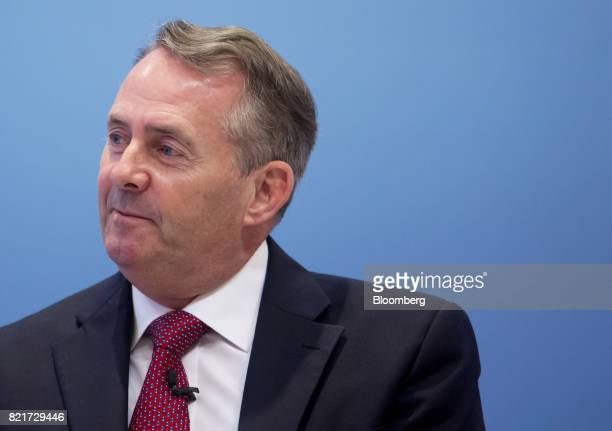 Liam Fox UK international trade secretary pauses while speaking at the American Enterprise Institute in Washington DC US on Monday July 24 2017...