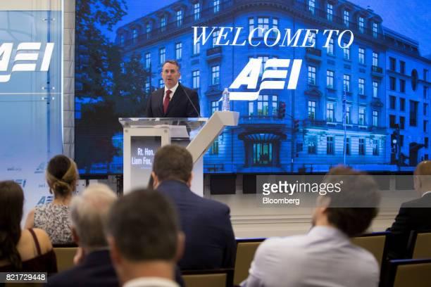 Liam Fox UK international trade secretary speaks at the American Enterprise Institute in Washington DC US on Monday July 24 2017 Foxacknowledged it...